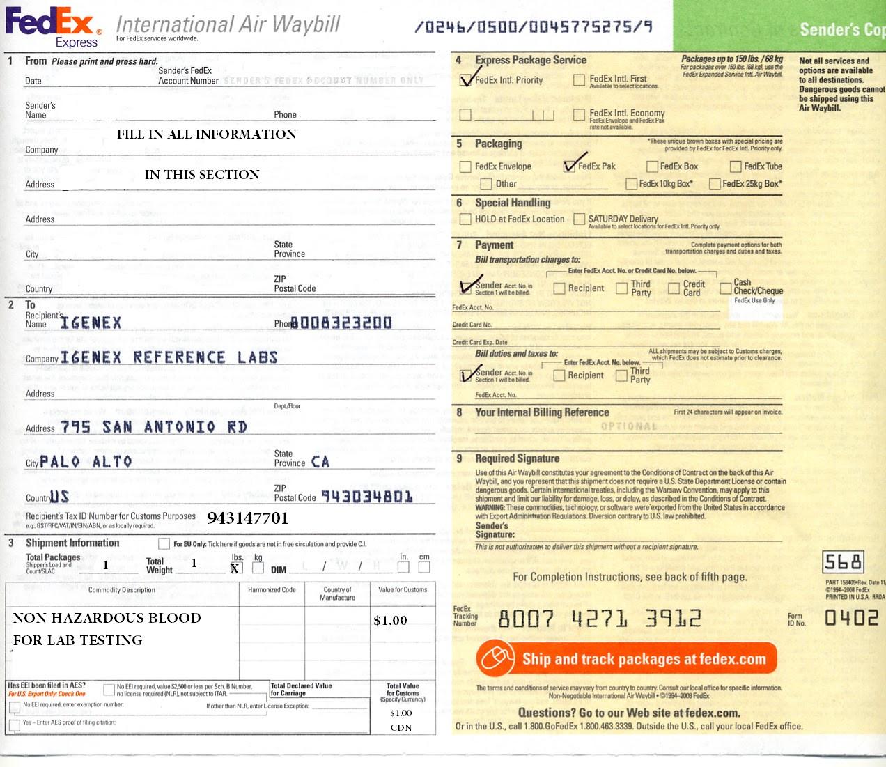 Fedex International Air Waybill Form Download
