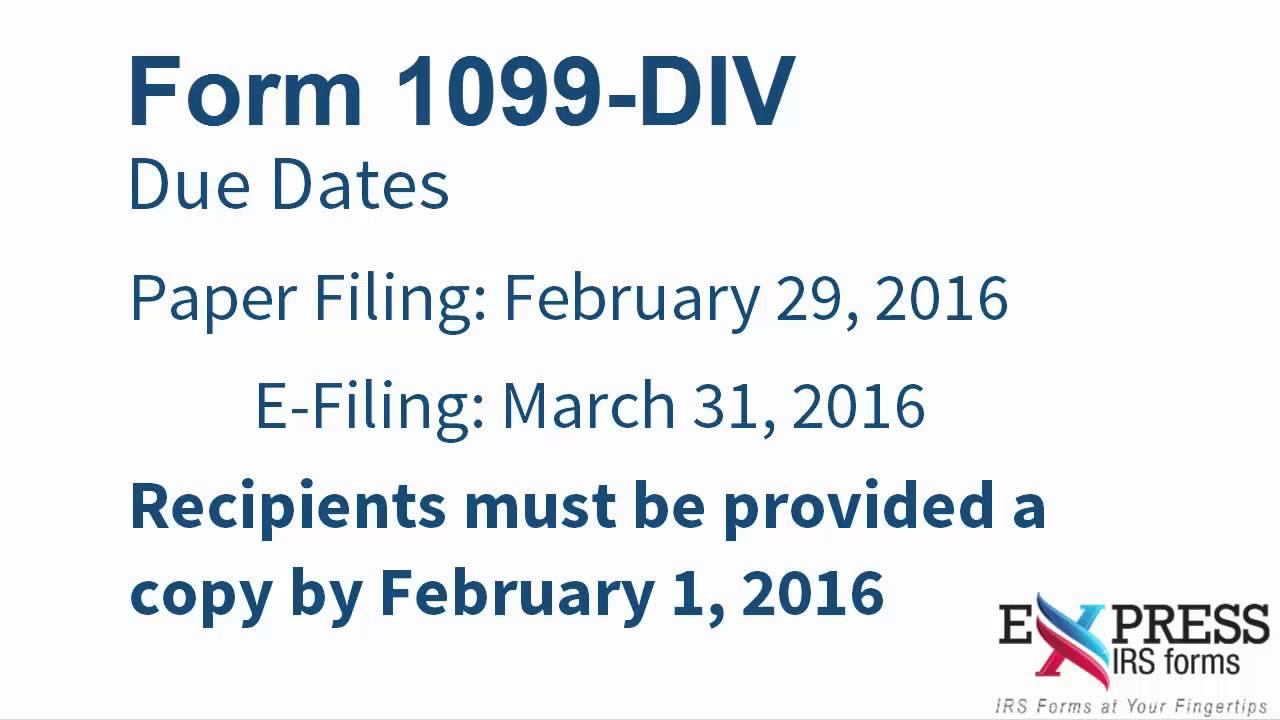 Filing Form 1099 Div