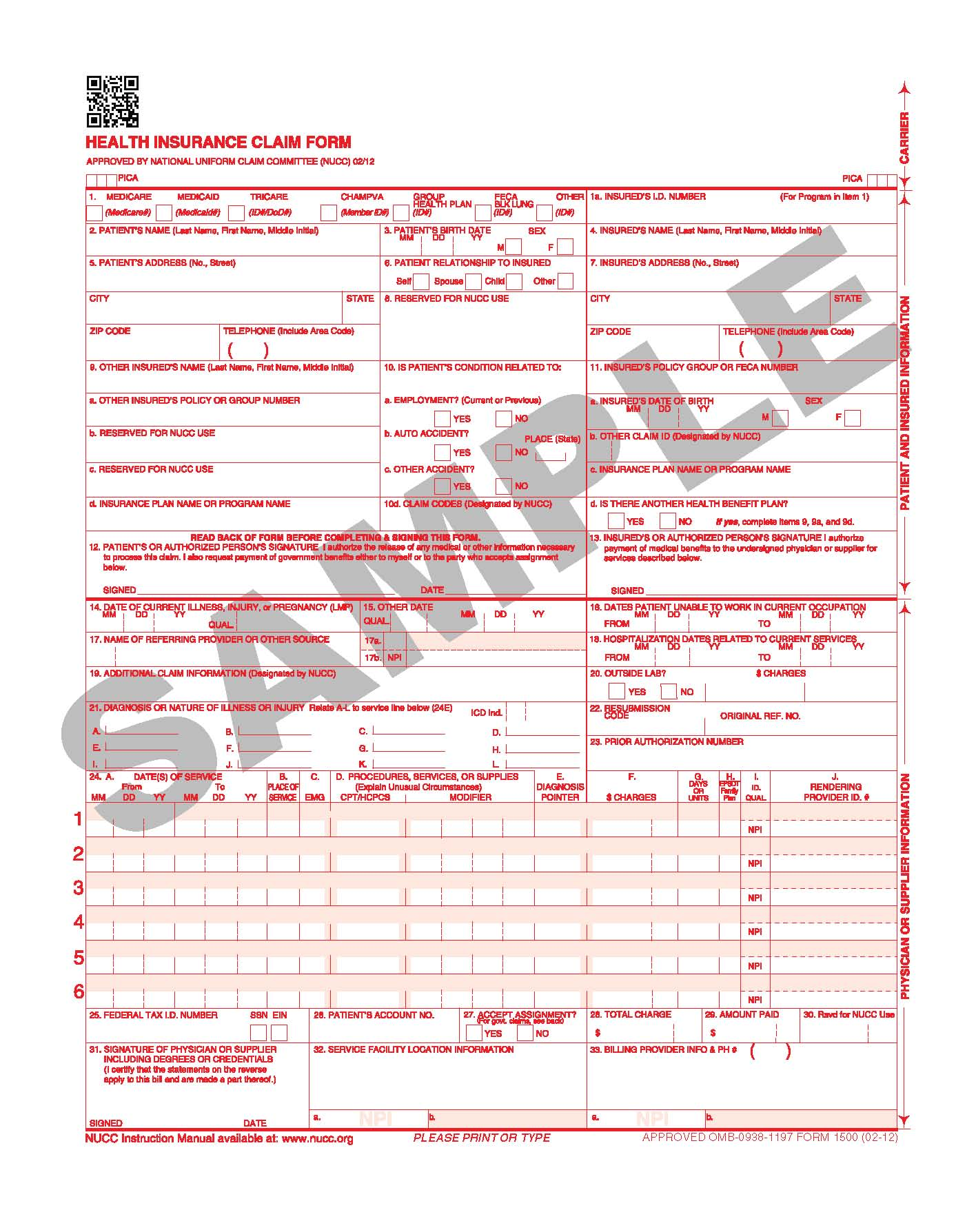 Fillable Cms 1500 Claim Form 0212 | Universal Network