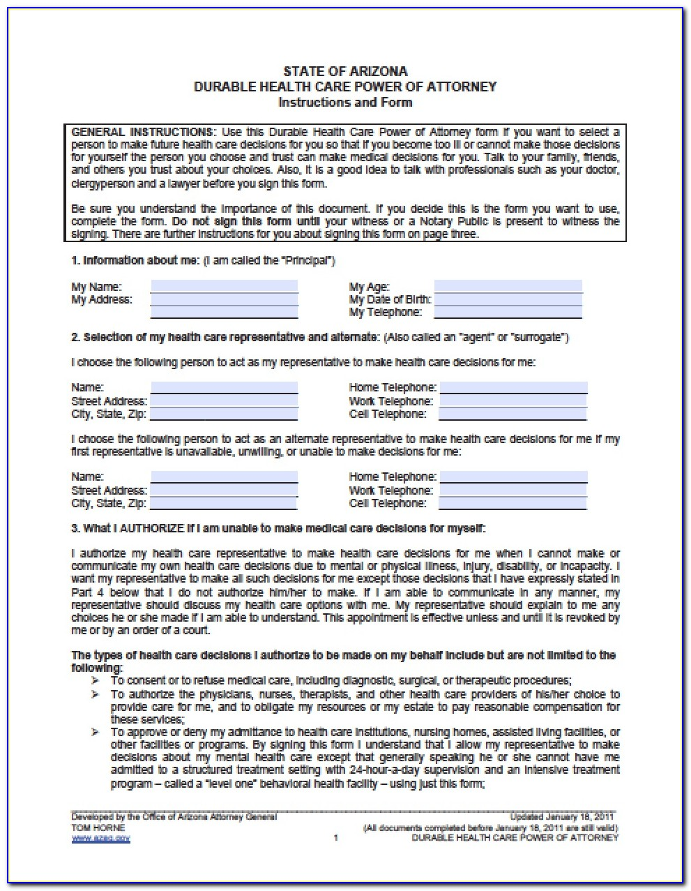 Fillable Power Of Attorney Form Dmv Arizona