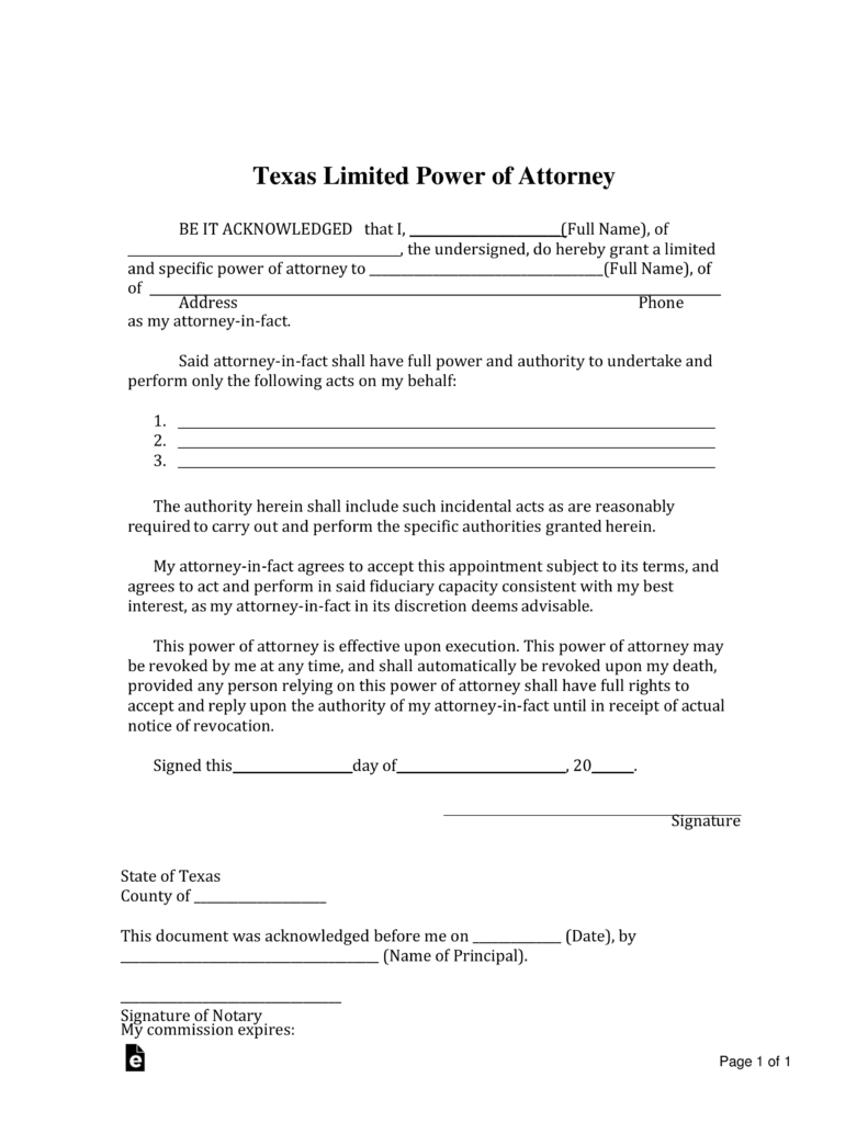 Fillable Power Of Attorney Form Texas