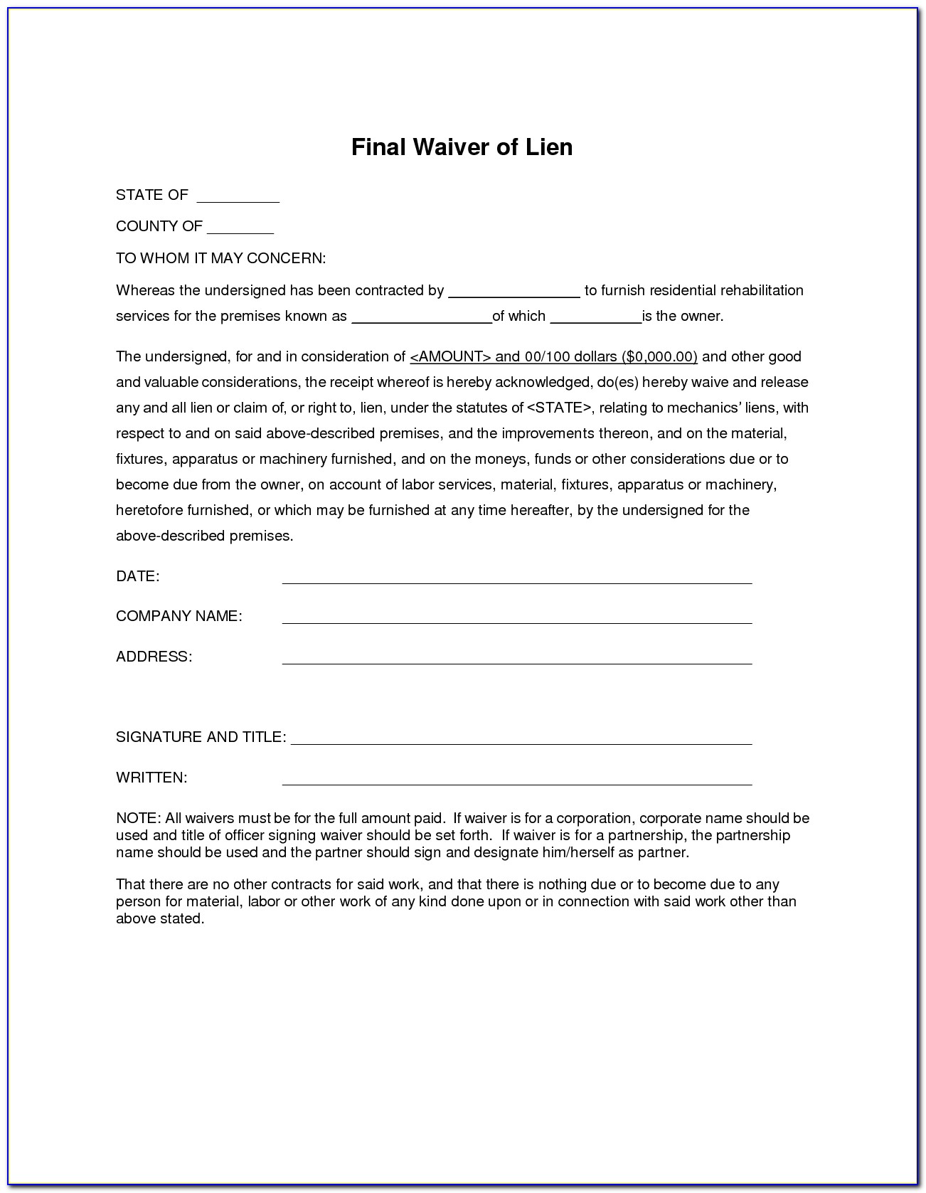 Final Waiver And Release Of Lien Form