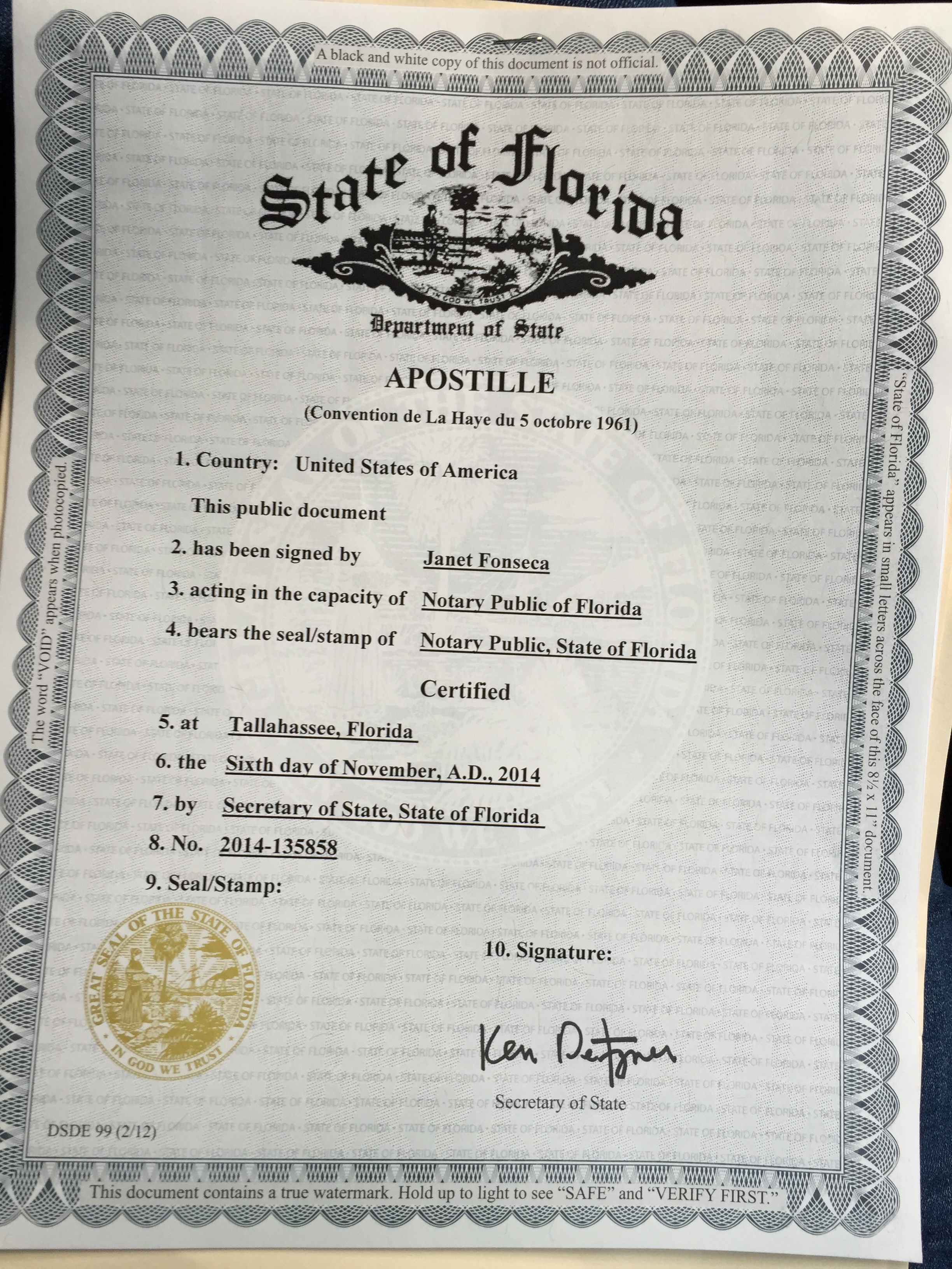Florida Notary Certificate Copy