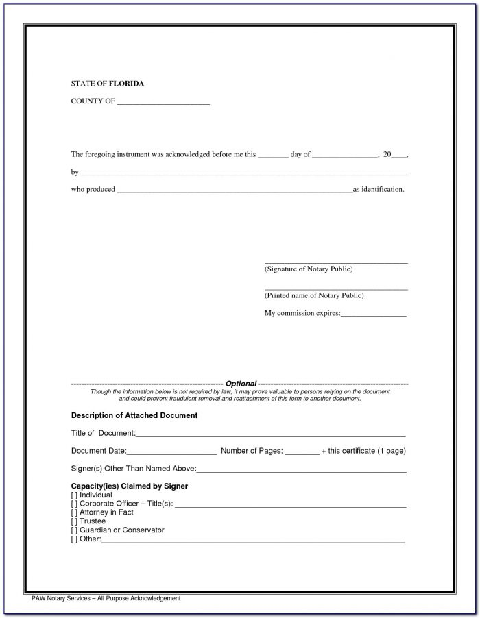 Florida Notary Forms Of Identification