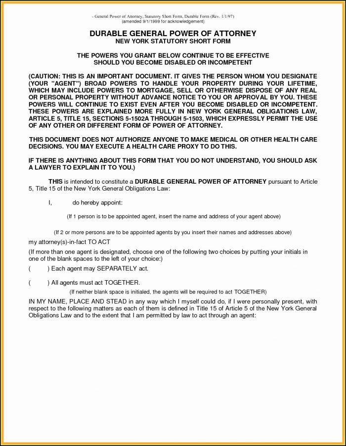 Florida Power Of Attorney Fillable Form