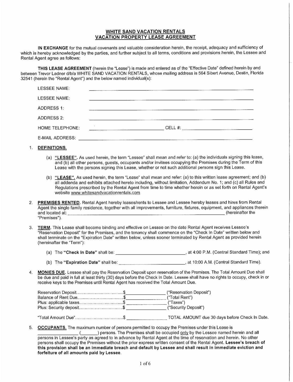 Vacation Rental Agreement Forms Free 12 Commercial Lease Agreement Florida Template Uiiru Templatesz234