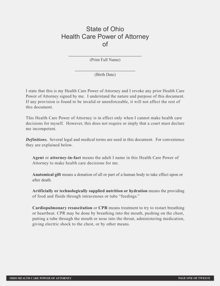 Form For Durable Power Of Attorney In Ohio
