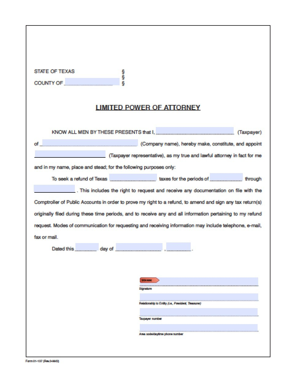 Form For Durable Power Of Attorney In Texas