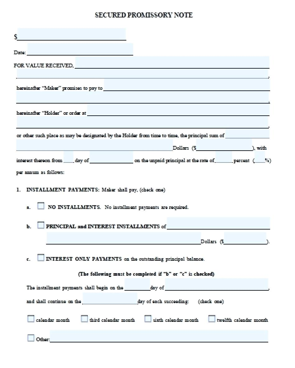 Form For Promissory Note With Collateral