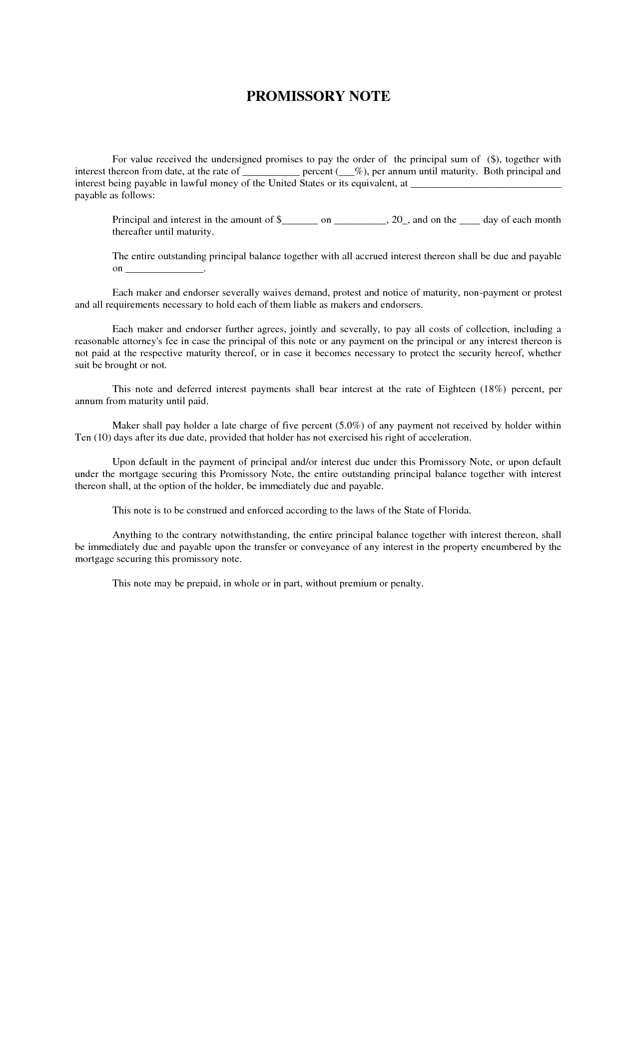 Form Of Promissory Note Florida