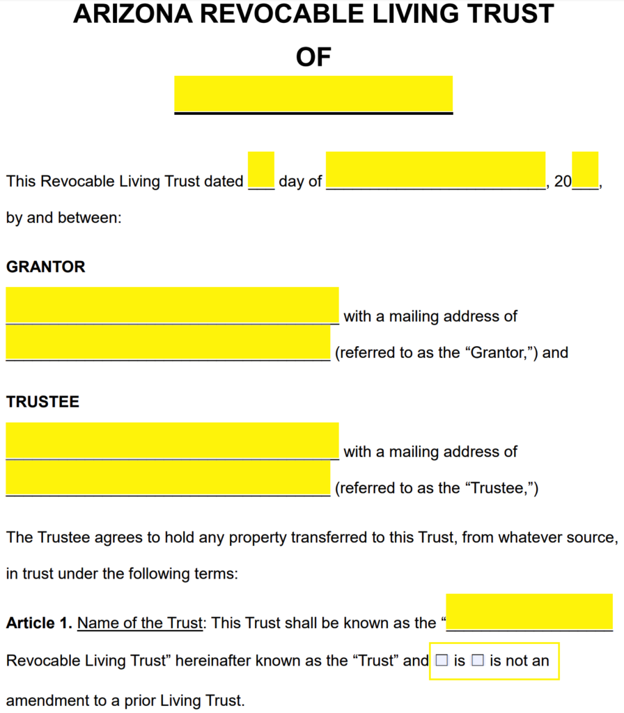 Forms For Wills And Living Trusts