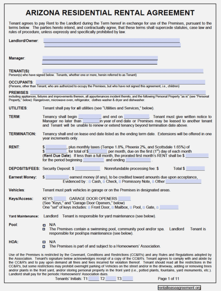 Free Arizona Rental Lease Agreement Form