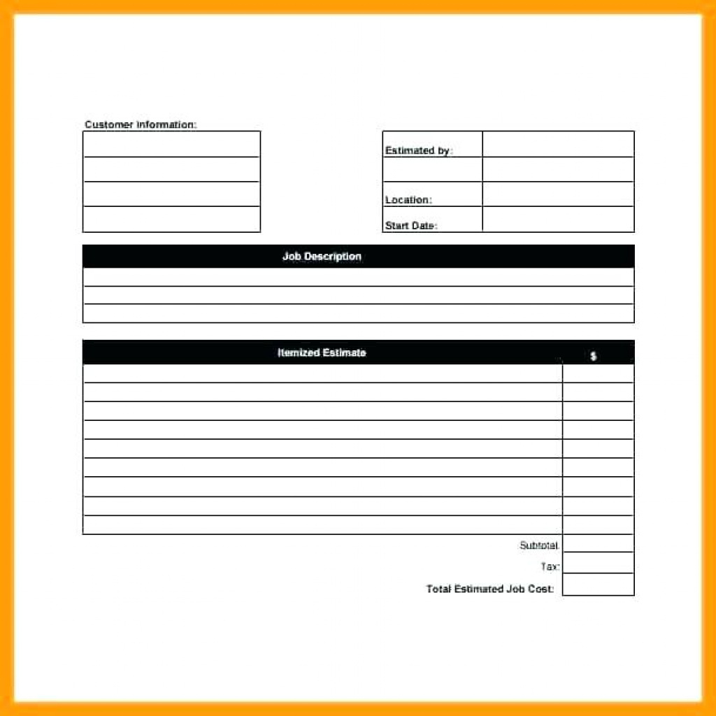 Free Blank Job Estimate Form Template Quotation Quote Excel Post For Free Printable Job Quote Forms