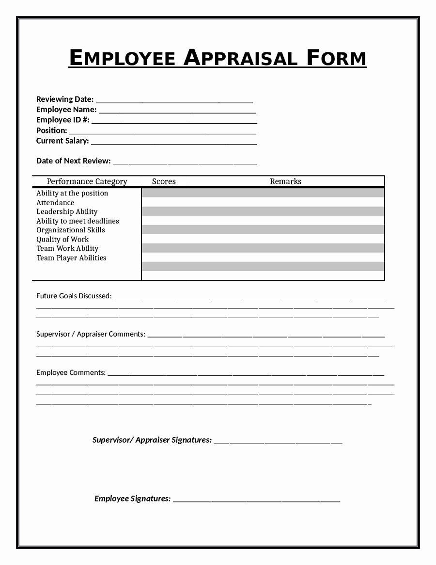 Free Employee Appraisal Forms