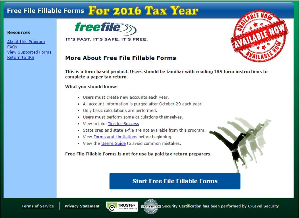 Free Fillable Federal Tax Forms 2016