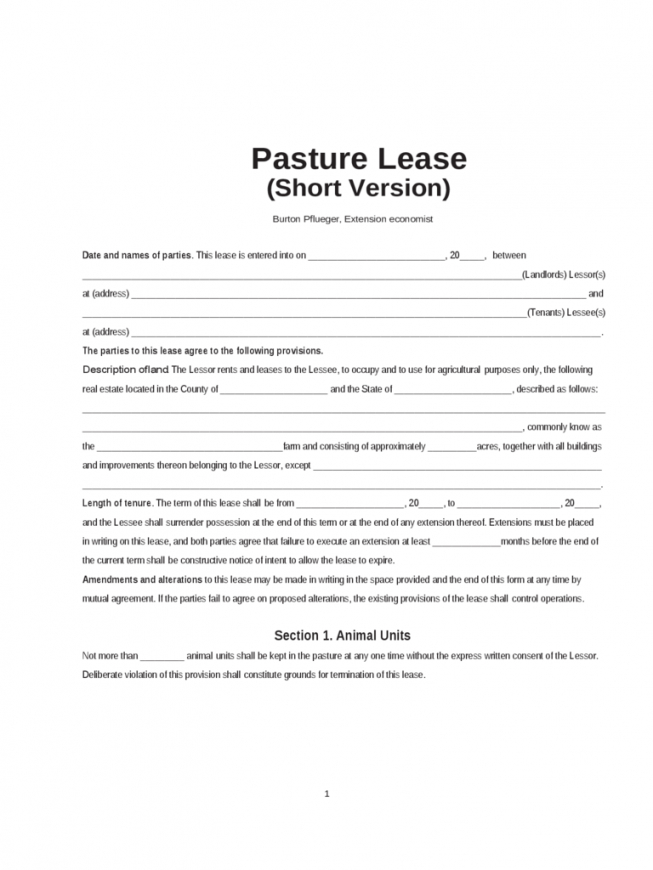 Pasture Lease Agreement 4 Free Templates In Pdf, Word, Excel Download Ranch Lease Agreement Template