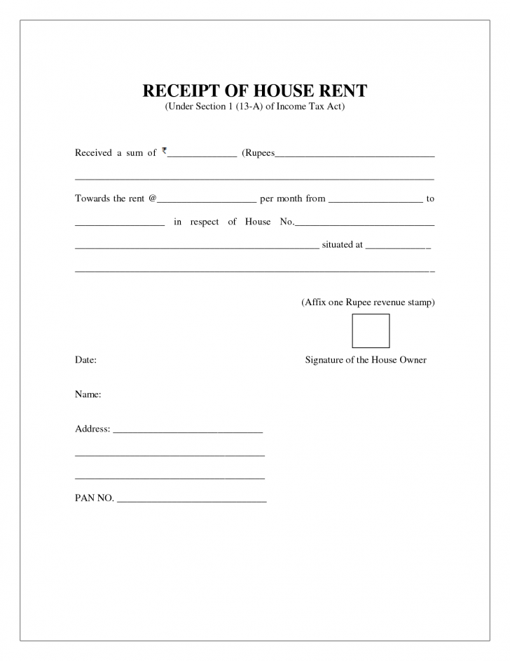 Free House Rent Receipt Format