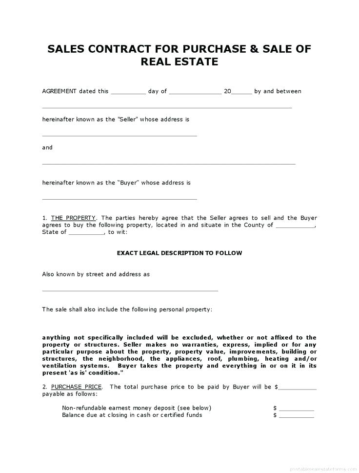 Free Land Contract Forms Ny
