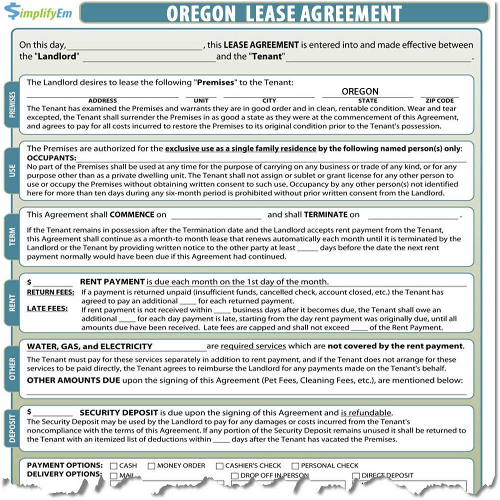 Oregon Rental Agreement Forms Oregon Lease Agreement