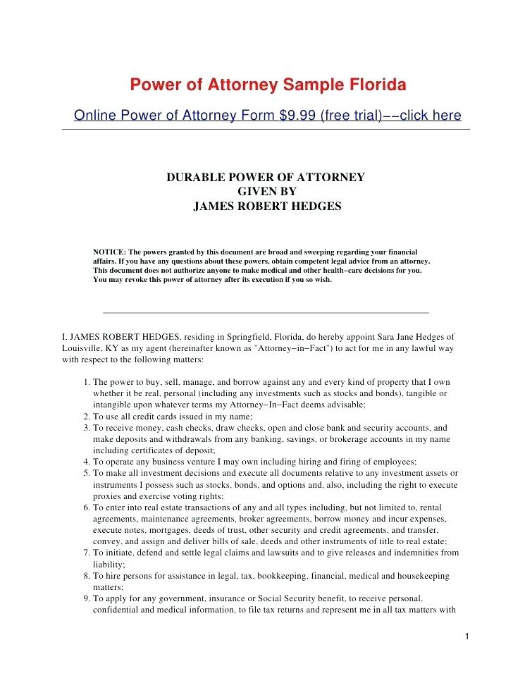 Free Printable Durable Financial Power Of Attorney Form