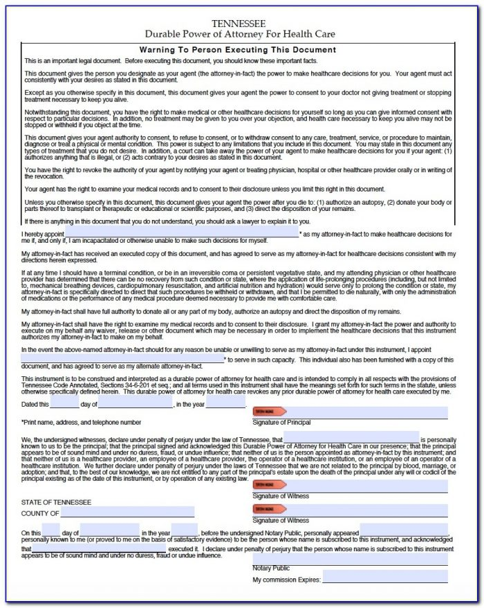 Free Printable Durable Power Of Attorney Form For Tennessee