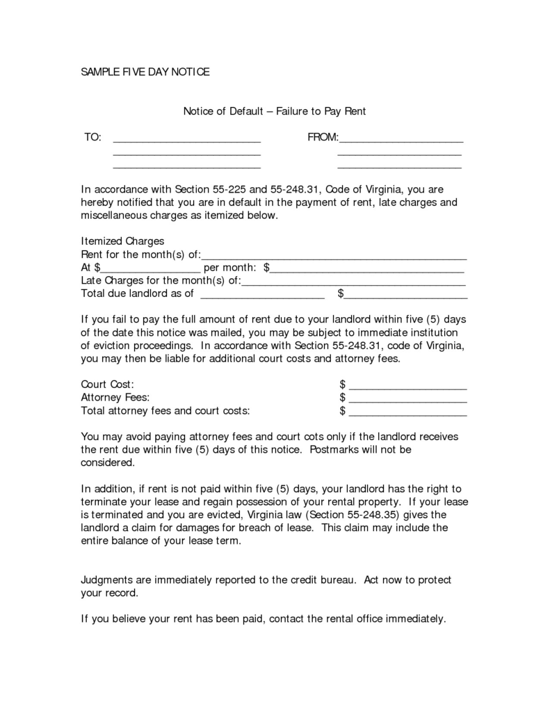 Free Printable Notice To Pay Rent Or Quit Form