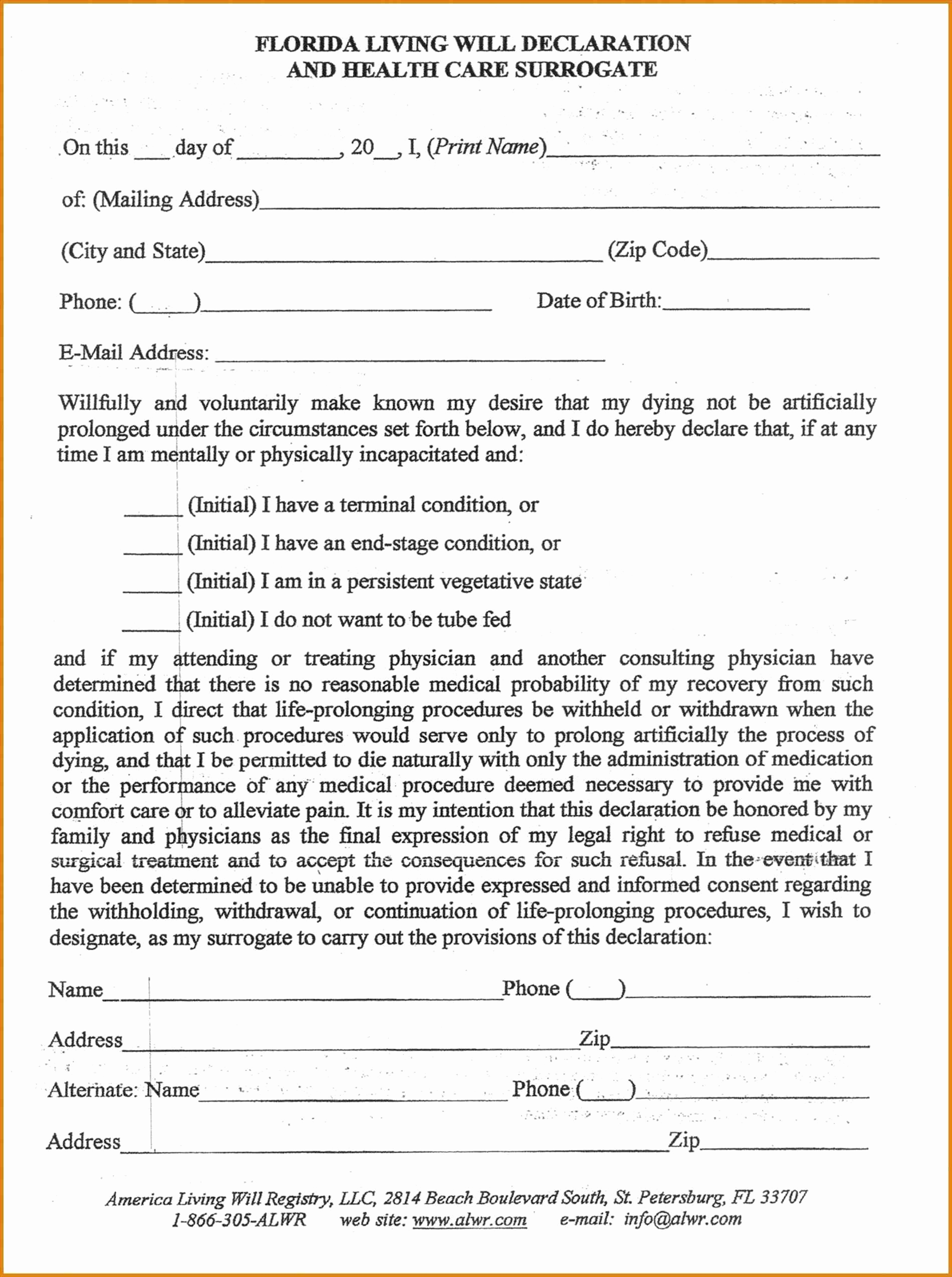 Florida Designation Of Health Care Surrogate Form Free Fresh Florida Health Care Power Attorney Forms Luxury For A Living Will