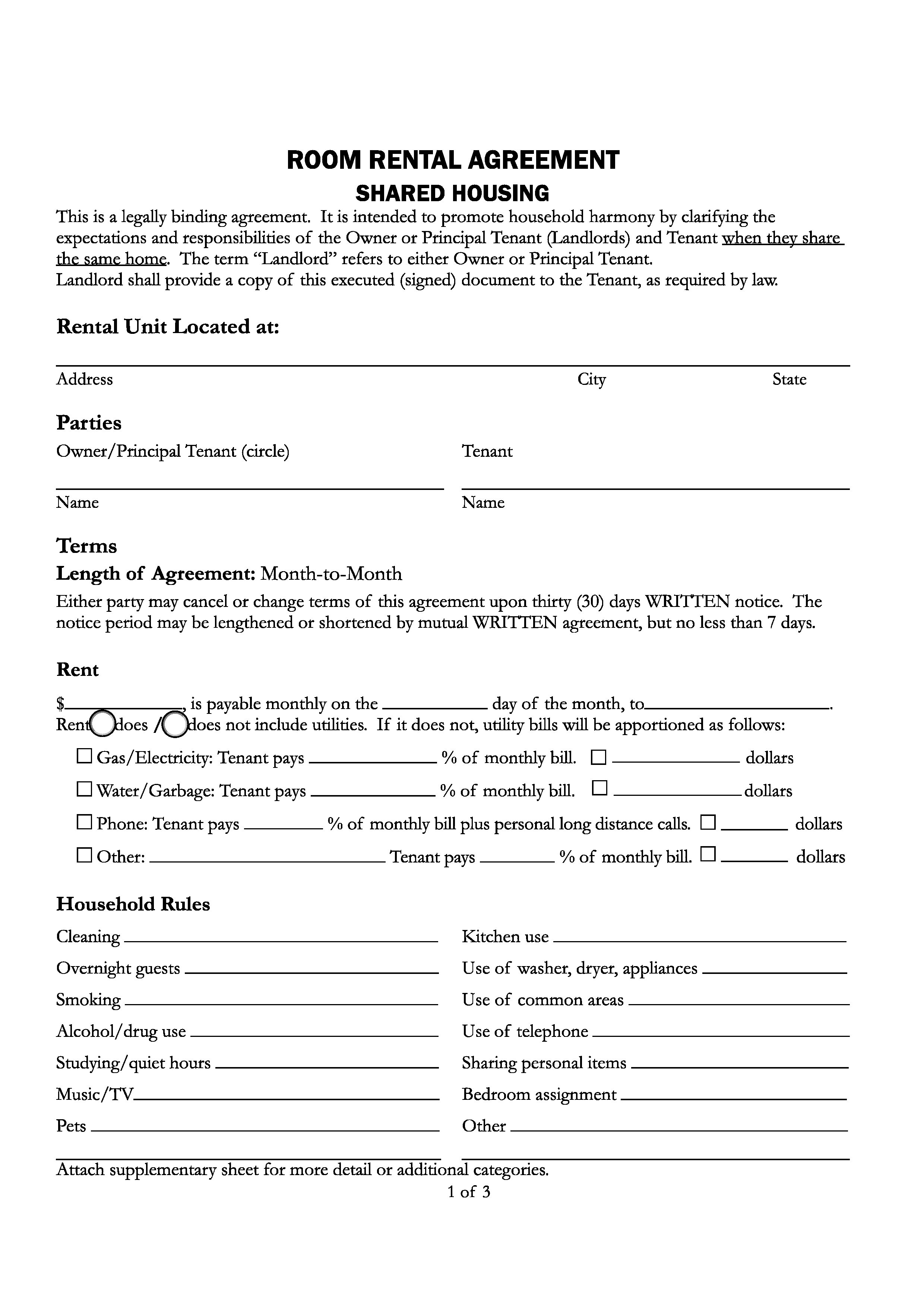 Lease Agreement Form California Pdf Free Santa Cruz County California Room Rental Agreement Pdf Word Do It Yourself Forms