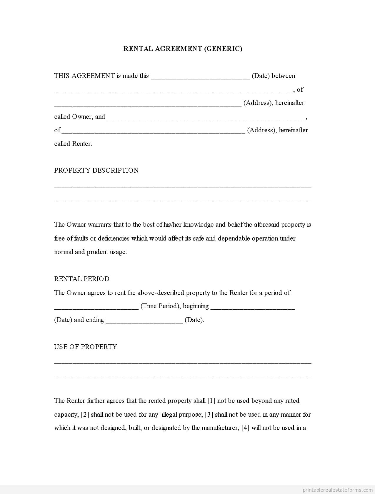 Simple Printable Rental Agreement Form Universal Network