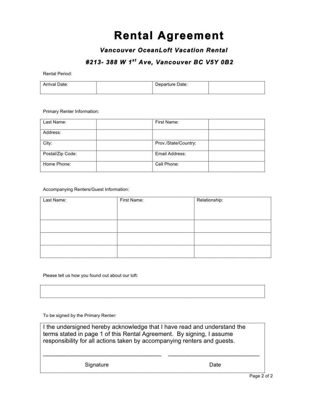 6 Free Rental Agreement Templates Excel Pdf Formats Free Rental Agreement Application