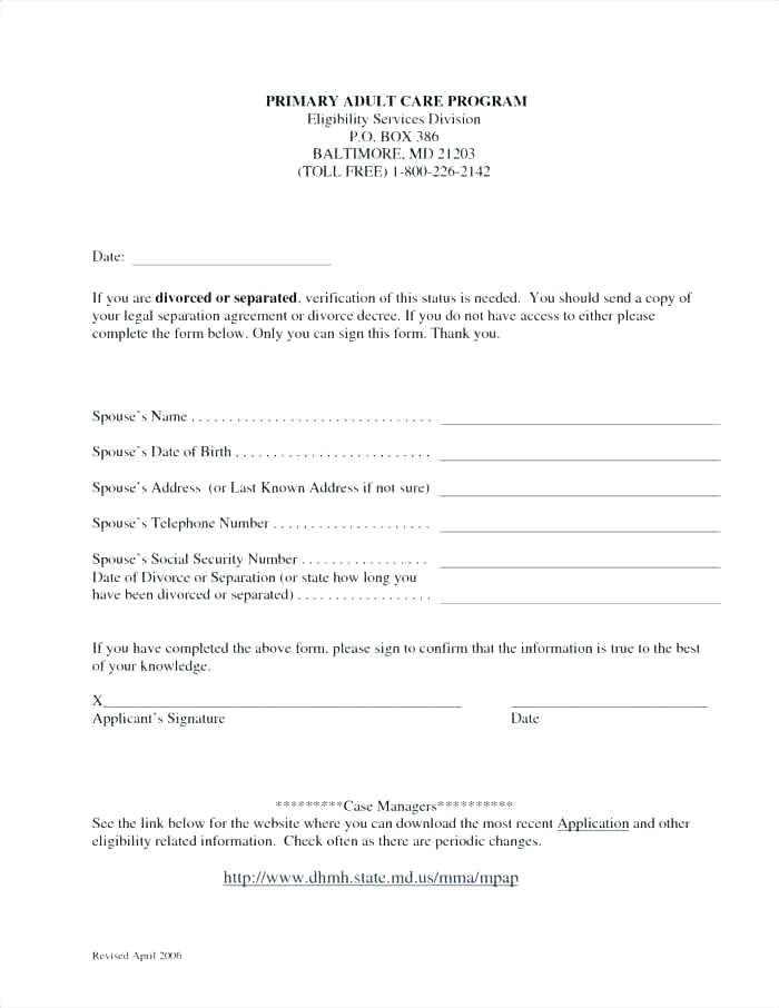 Free Separation Agreement Form Manitoba