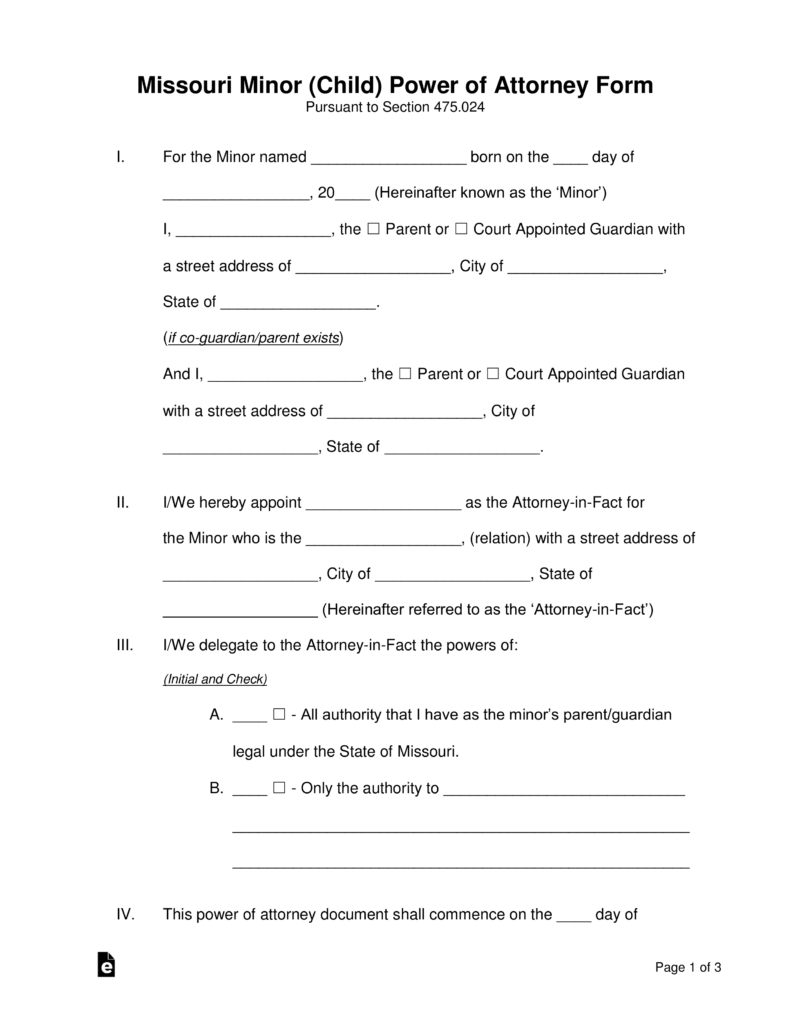 Free Missouri Minor Child Parental Power Of Attorney Form Pdf Inside Temporary Guardianship Missouri