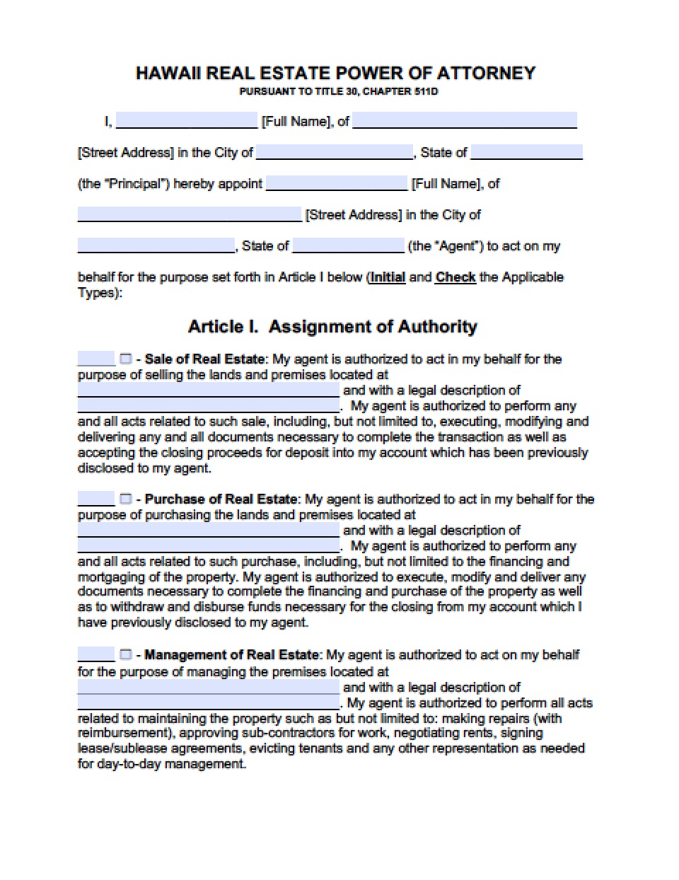 Hawaii Statutory Durable Power Of Attorney Form