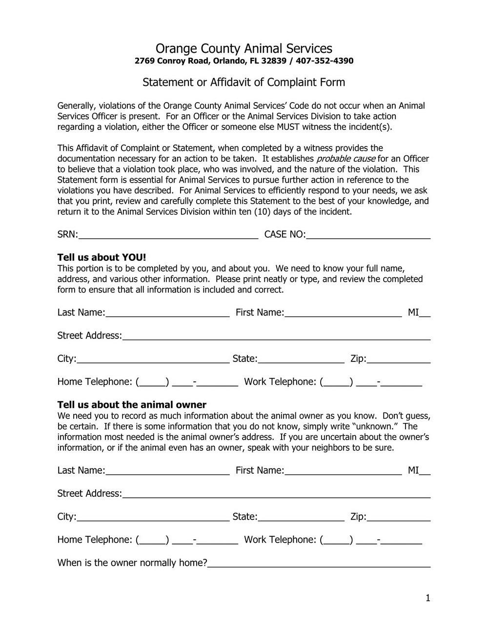 Complaint Affidavit Sample Format