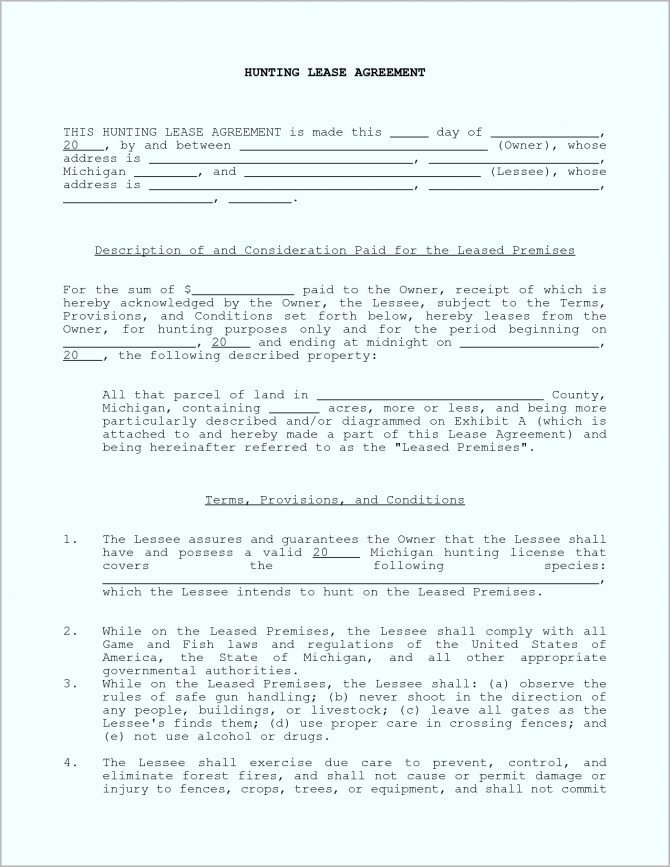 Hunting Land Lease Agreement Form Free