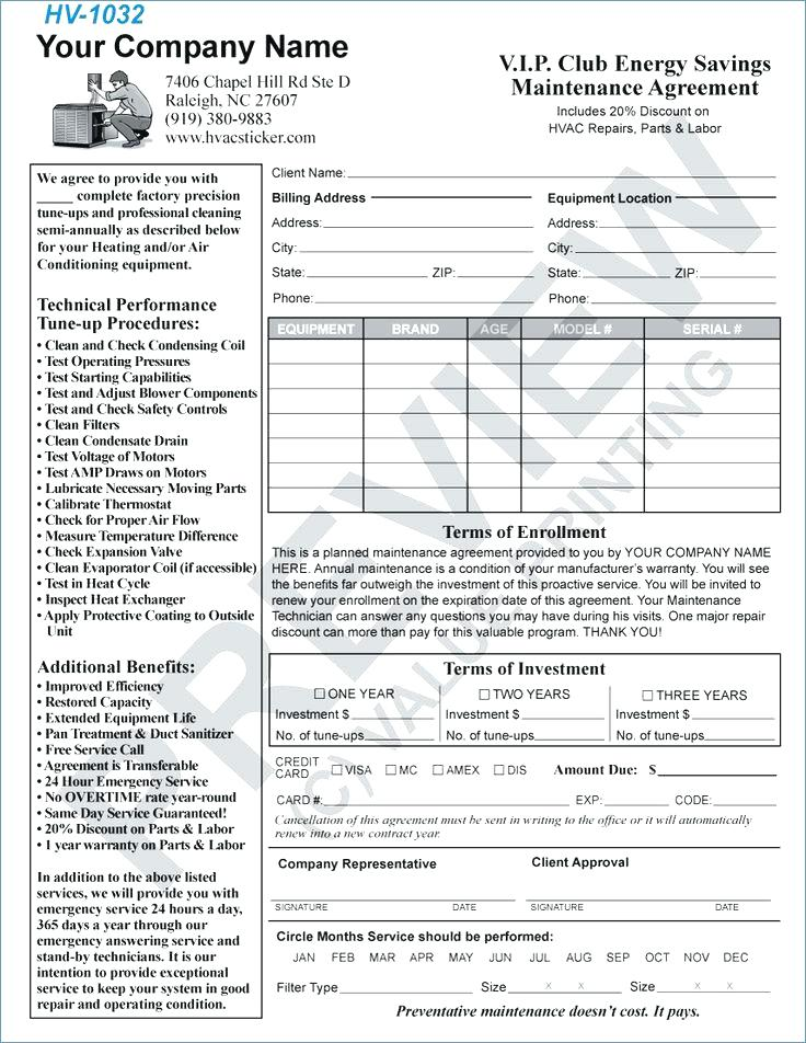 Hvac Maintenance Agreement Template