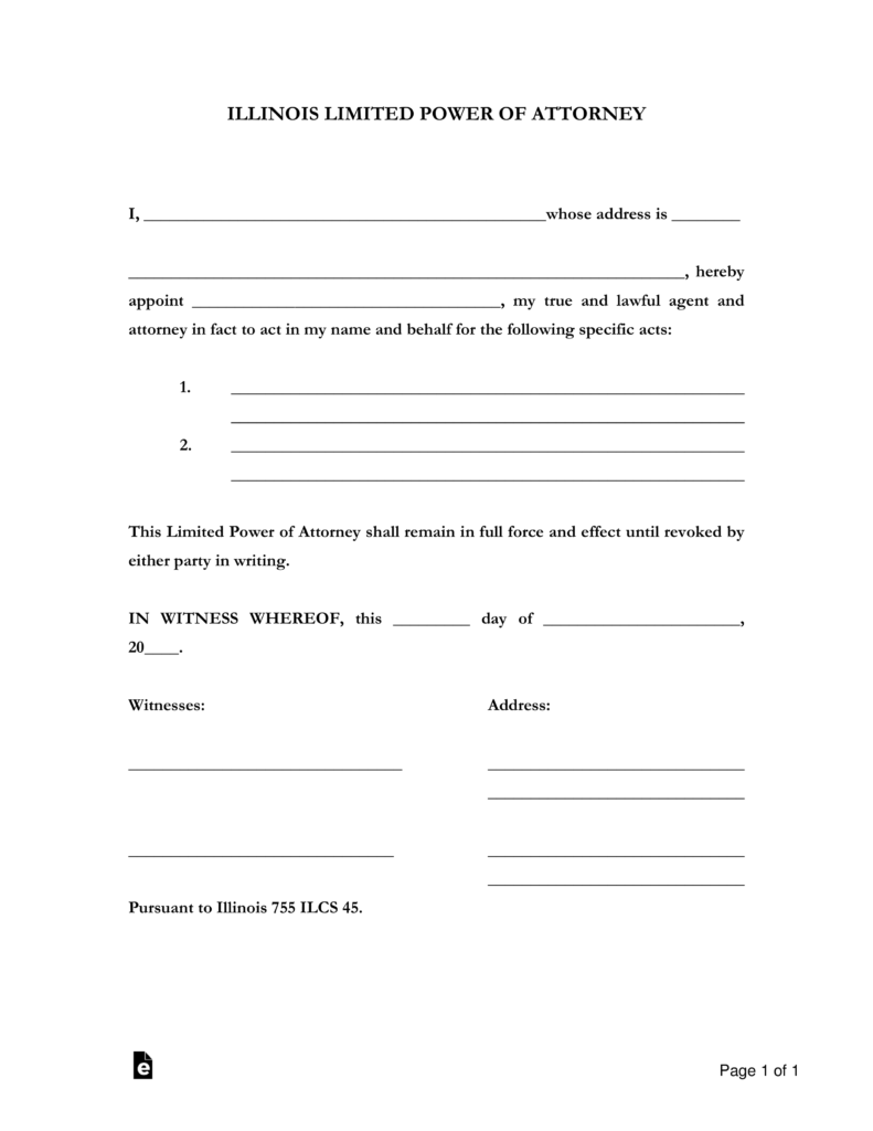 Illinois Power Of Attorney Fillable Form