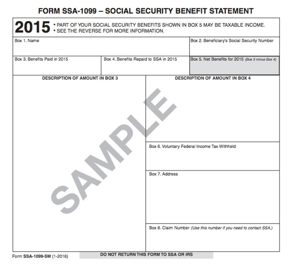 Income Tax Form Ssa 1099