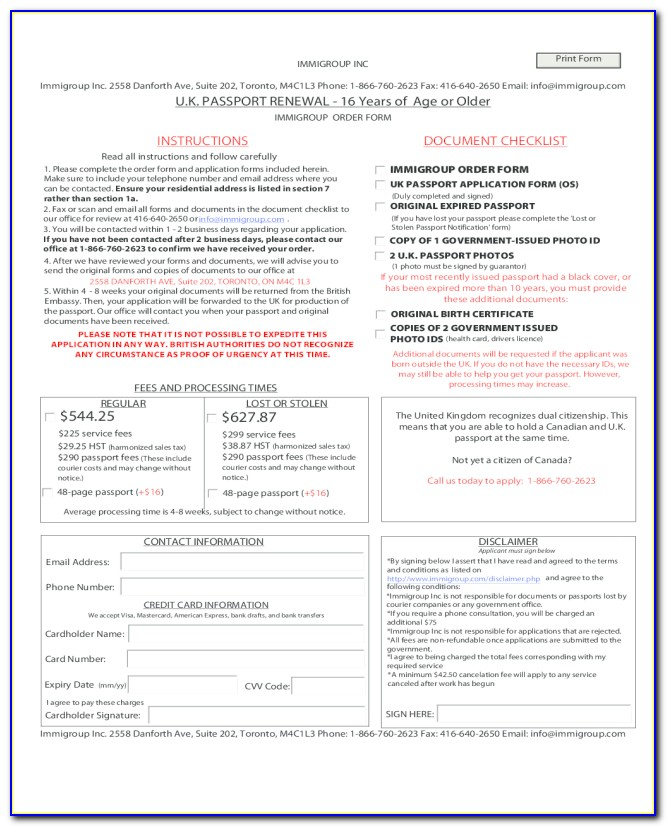 Indian Passport Renewal Application Form Print Out