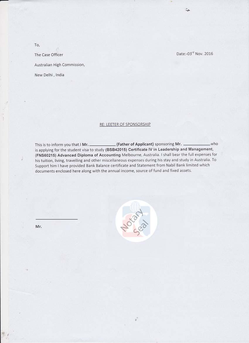 International Student Sponsor Affidavit Form