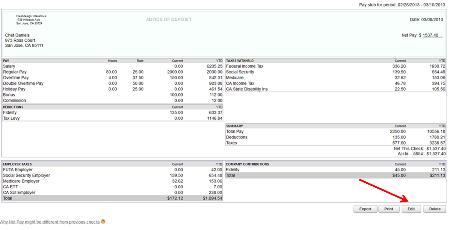 Intuit Quickbooks Payroll Direct Deposit Bank Account Change Form