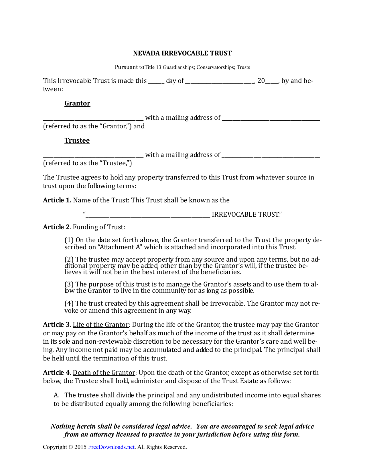 Irrevocable Living Trust Form Nevada