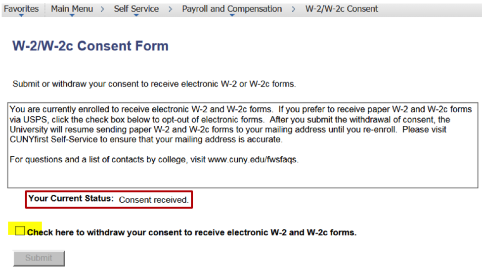 Irs Electronic W2 Consent Form
