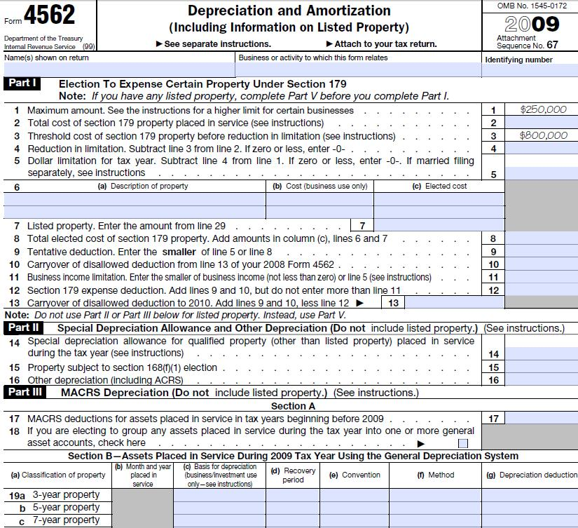 Irs Form 4562 Instructions