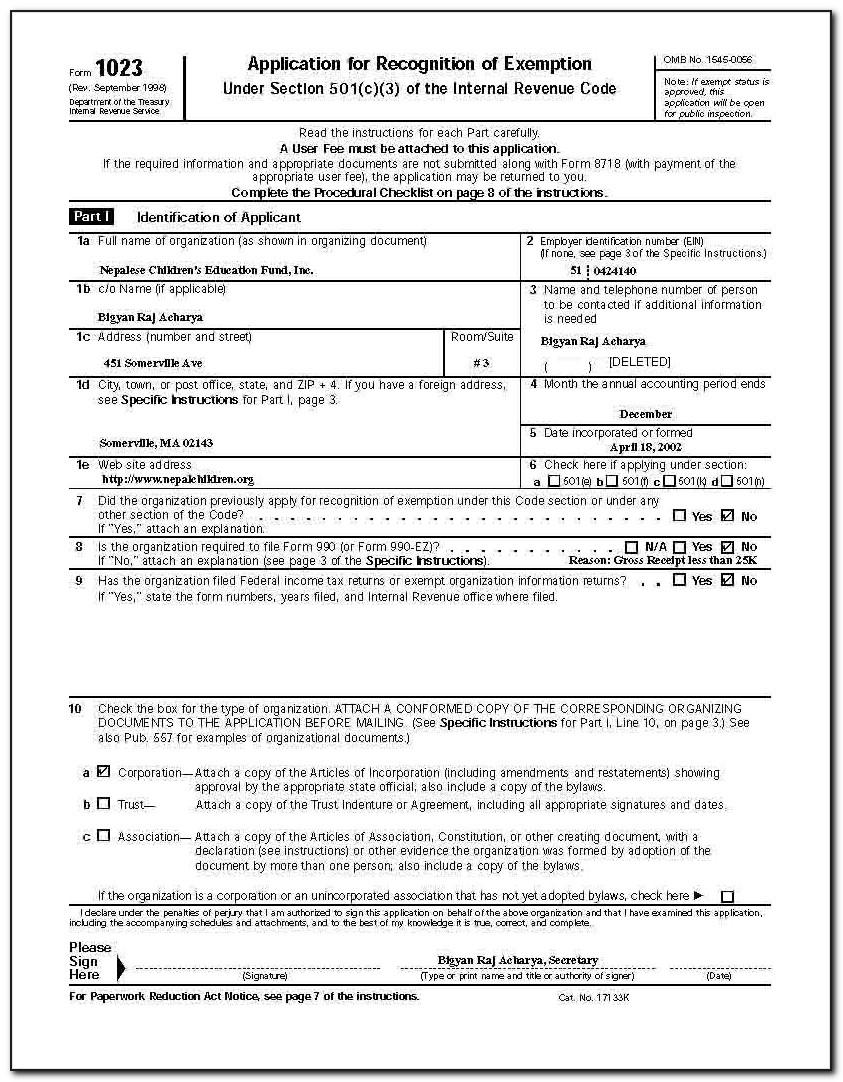 Irs Form 501(c)(3)