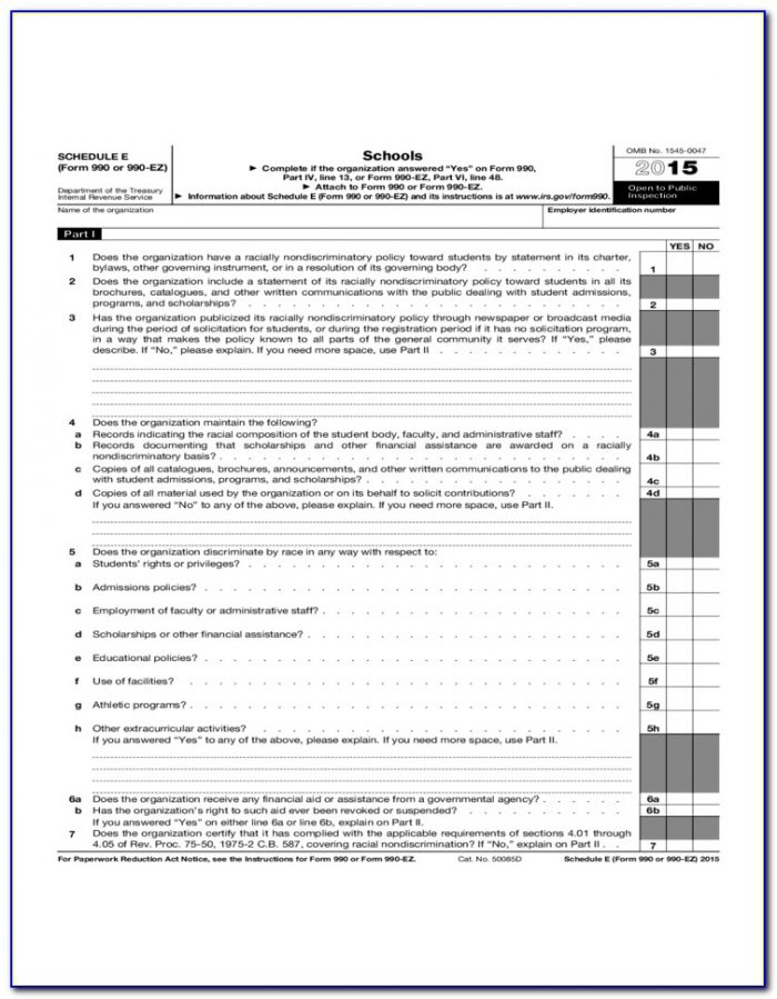Irs Forms 990 Ez Schedule A