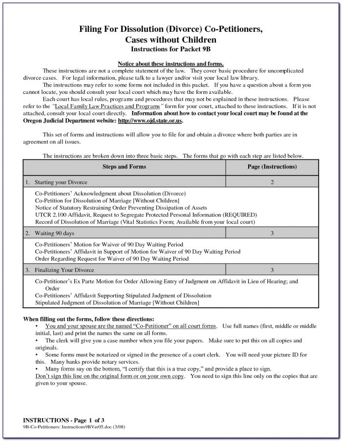 King County Wa Divorce Forms