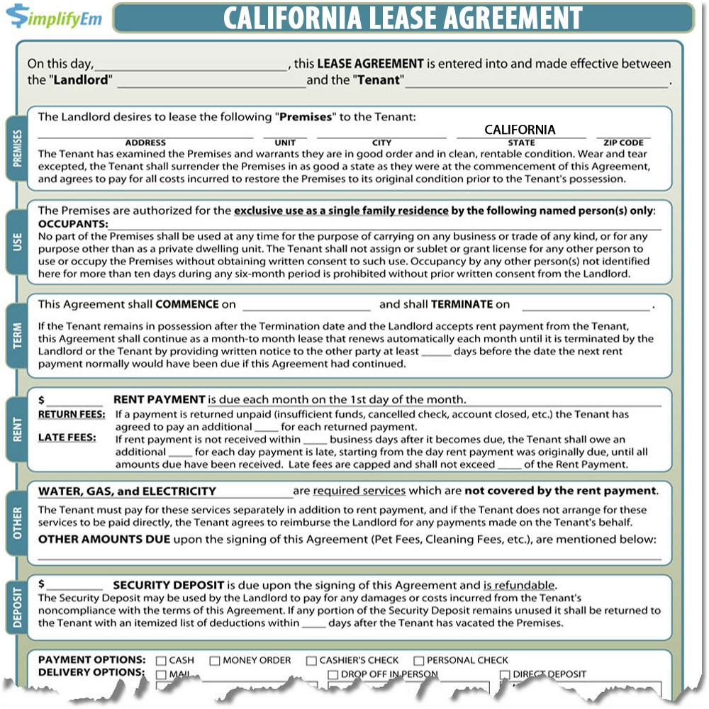 California Rental Agreement Sample Rental Agreement California