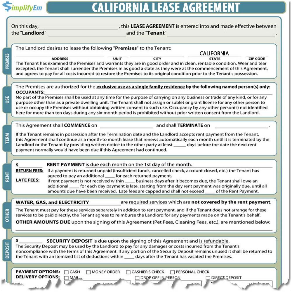 California Rental Agreement Sample Rental Agreement California