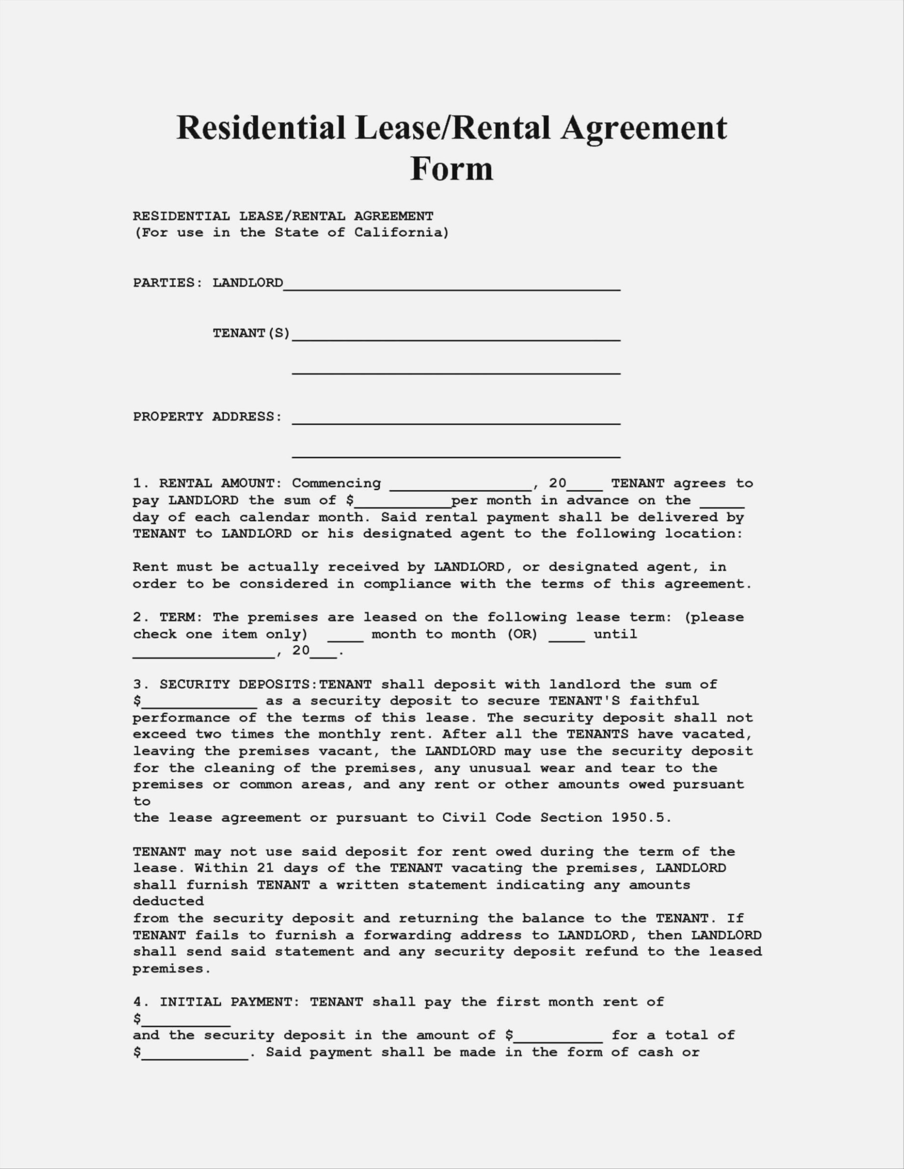 Landlord Tenant Agreement Form Nj